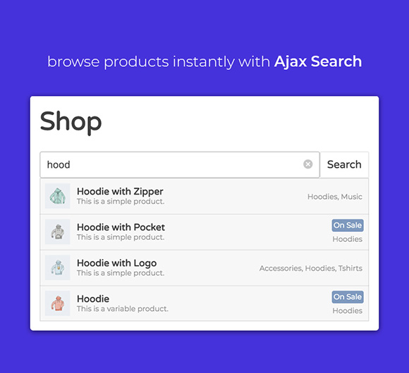 WooCustomizer - Ajax Search