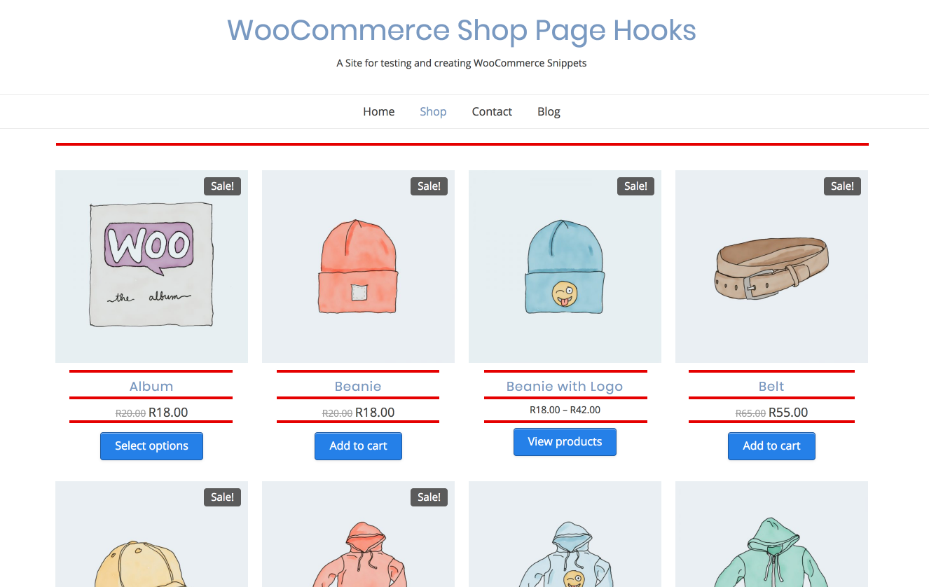 WooCommerce Shop Page Hooks