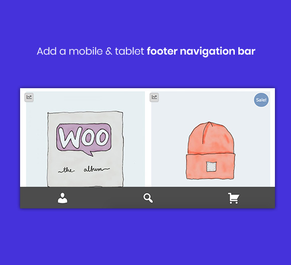 WooCustomizer - Handheld Footer Navigation Bar for tablet and mobile